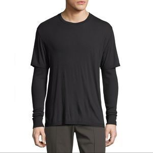 Vince Double Layer Long Sleeve Knit Shirt